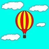 Vliegende hete luchtballon Stock Foto's