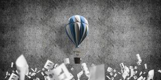 Vliegende hete luchtballon in de ruimte Stock Fotografie