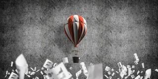 Vliegende hete luchtballon in de ruimte Stock Afbeeldingen