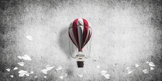 Vliegende hete luchtballon in de ruimte Stock Afbeelding