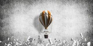 Vliegende hete luchtballon in de ruimte Royalty-vrije Stock Afbeeldingen