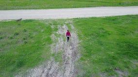 Vliegende Hommel na een Meisjes Luchtmening van platteland, video van de hommel de hoogste mening 4K UHD stock video