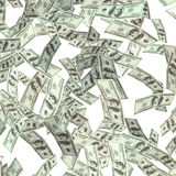 Vliegende honderd dollarsbankbiljetten Stock Afbeelding