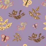 Vliegende katten Naadloos patroon in beeldverhaalstijl kleurrijk Royalty-vrije Stock Afbeeldingen