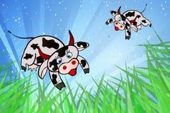 Vliegende koeien en internationale vlaggen vector illustratie