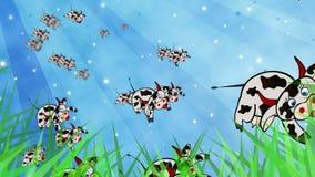 Vliegende koeien en internationale vlaggen stock videobeelden