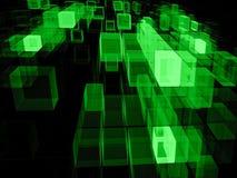 Vliegende kubussen - abstract digitaal geproduceerd beeld Stock Foto