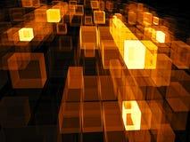 Vliegende kubussen - abstract digitaal geproduceerd beeld Stock Fotografie