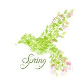 Vliegende mooie vogel met bloemen en groene bladeren Royalty-vrije Stock Afbeeldingen