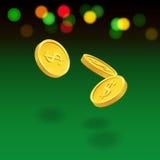 Vliegende muntstukken op groene achtergrond Vectorcasinoillustratie vector illustratie