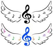 Vliegende muzieksymbolen in vleugels stock illustratie
