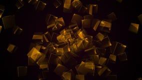 Vliegende oranje rechthoekige kubussen stock video