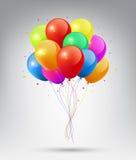 Vliegende Realistische Glanzende Kleurrijke Ballons met Partij en Vieringsconcept op witte achtergrond Stock Foto