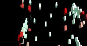 Vliegende rechthoekige kubussen stock videobeelden