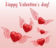 Vliegende rode harten met vleugels royalty-vrije illustratie
