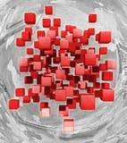 Vliegende rode kubussen op een abstracte achtergrond het 3d teruggeven royalty-vrije illustratie