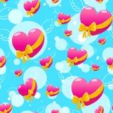 Vliegende roze harten stock illustratie