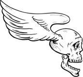 Vliegende schedel met vleugels vectorillustratie vector illustratie