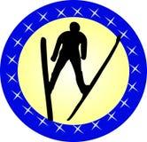 Vliegende skiër Stock Fotografie
