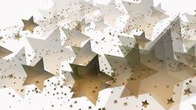 Vliegende sterren in gouden kleur op wit stock videobeelden
