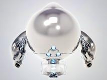 Vliegende stuk speelgoed robot met roestvrij staalpantser Stock Fotografie