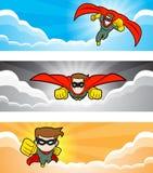 Vliegende Superhero-Banner Royalty-vrije Stock Afbeeldingen