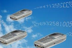 Vliegende telefoons stock illustratie