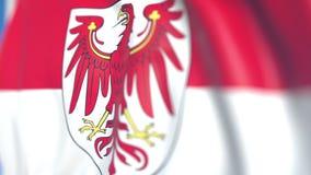 Vliegende vlag van Brandenburg, een staat van Duitsland Close-up, loopable 3D animatie stock footage