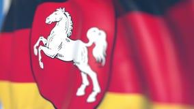 Vliegende vlag van Nedersaksen, een staat van Duitsland Close-up, loopable 3D animatie stock videobeelden