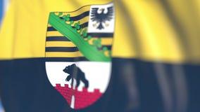 Vliegende vlag van Saksen-Anhalt, een staat van Duitsland Close-up, loopable 3D animatie stock footage