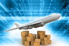 Vliegende vlakte met pakketten royalty-vrije illustratie