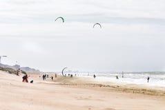 Vliegende vliegers op een strand stock afbeeldingen