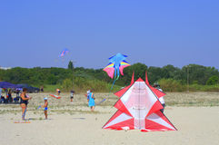 Vliegende vliegers op strand royalty-vrije stock foto
