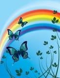 Vliegende vlinders Stock Foto's