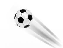 Vliegende voetbalbal Stock Foto's