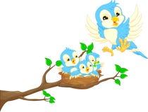 Vliegende vogel en babyvogel in het nest stock illustratie