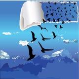 Vliegende vogels buiten de doos vectorillustratie Stock Afbeeldingen