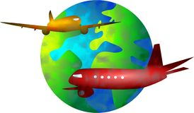 Vliegende wereld Stock Foto's