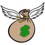 Vliegende Zak Geld Royalty-vrije Stock Afbeeldingen