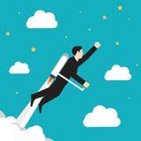 Vliegende Zakenman op blauwgroene gackground vector illustratie