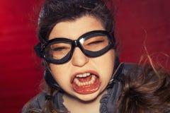 Vliegenier Silly Expression Royalty-vrije Stock Fotografie