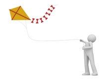 Vlieger in de geïsoleerdej hemel - Levensstijl Stock Afbeeldingen