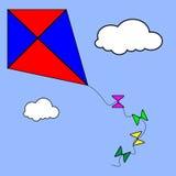 Vlieger die onder wolken vliegen Stock Foto