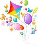 Vlieger en ballons Stock Afbeelding