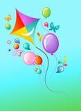 Vlieger en ballonsmalplaatje stock illustratie
