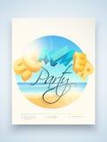 Vlieger, malplaatje of bannerontwerp voor de zomerpartij Royalty-vrije Stock Afbeelding