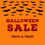 Vlieger met Halloween-verkoopinschrijving op achtergrond van de pompoenen de oranje kleur Malplaatje van affiche met volle maan,  vector illustratie
