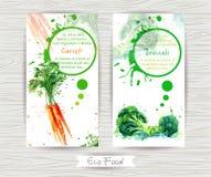 Vlieger met wortel en broccoli De illustratie van de waterverf royalty-vrije stock fotografie