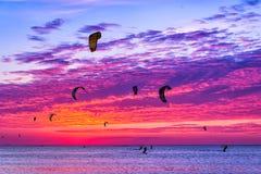 Vlieger-surft tegen een mooie zonsondergang Vele silhouetten van uitrusting Stock Afbeeldingen