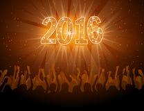 vlieger van de het Nieuwjaardisco van 2016 de gelukkige Royalty-vrije Stock Afbeelding